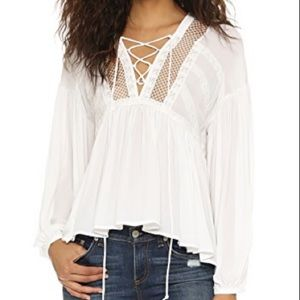 Free People Don't Let Go Lace-Up Peasant Top